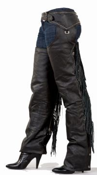 DEALER LEATHER C324-A S; LADIES CHAP WITH STUD, BEADED