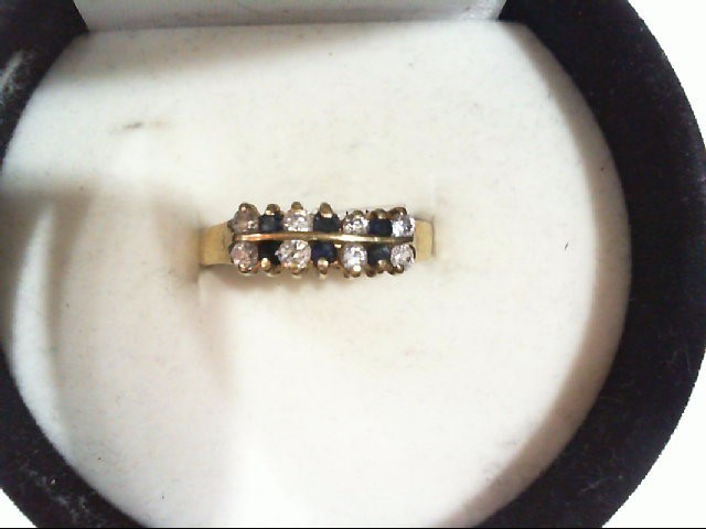 Sapphire Lady's Stone Ring 10K Yellow Gold 1.6g