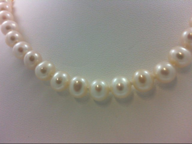 "18"" Synthetic Pearl Strand Stone Necklace 14K Yellow Gold 27.8g"