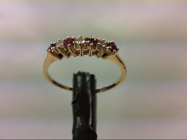 Ruby Lady's Stone & Diamond Ring 3 Diamonds 0.09 Carat T.W. 14K Yellow Gold 1.4g