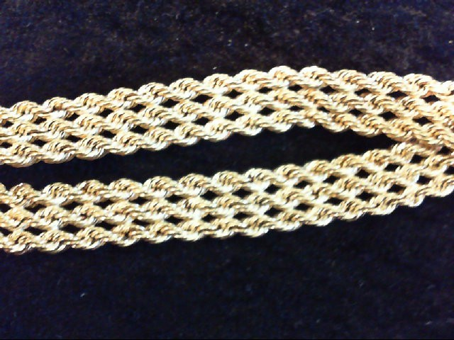 Gold Rope Bracelet 14K Yellow Gold 6.2g
