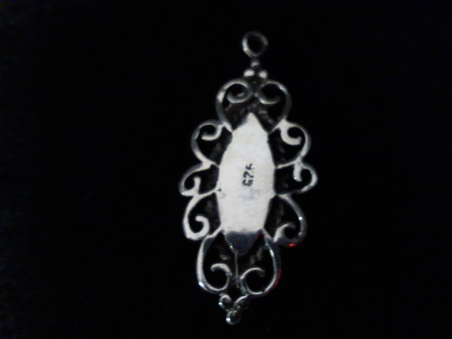 Synthetic Mother Of Pearl Silver-Stone Pendant 925 Silver 1.9g