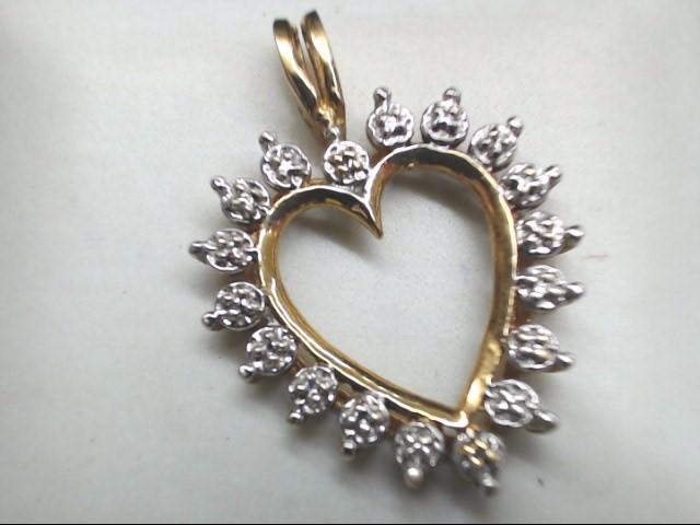 Heart Gold Charm wih Accent Diamonds 10K Yellow Gold 1.8g