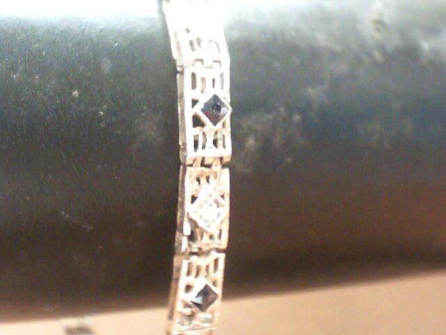 Blue Stone Gold-Diamond & Stone Bracelet 3 Diamonds .15 Carat T.W.