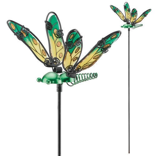 REGAL ART & GIFT 10649 GLASS WING DRAGONFLY PLANT PICK