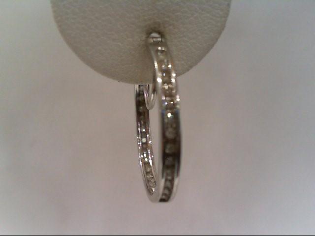 Silver-Diamond Earrings 48 Diamonds .240 Carat T.W. 925 Silver 2.9g