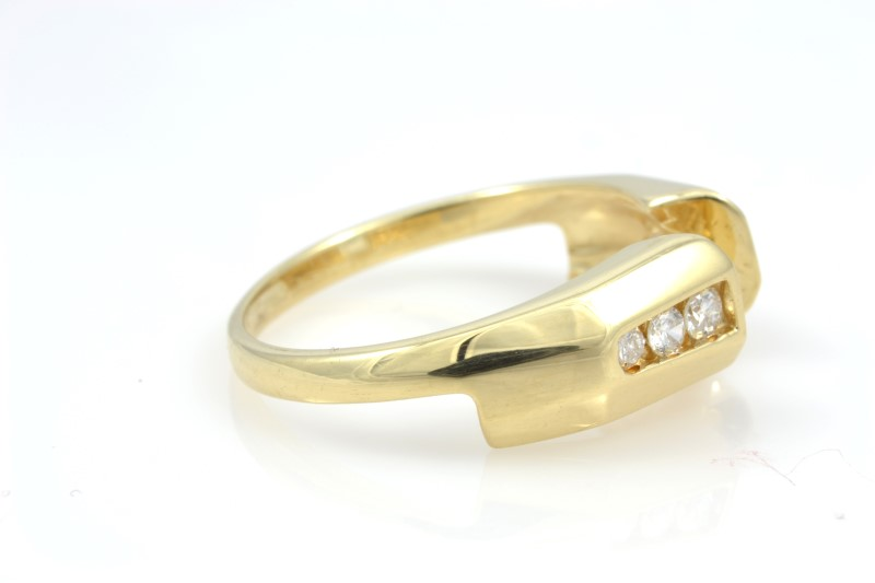ESTATE DIAMOND RING GUARD JACKET BAND SOLID 14K GOLD WEDDING 6.5