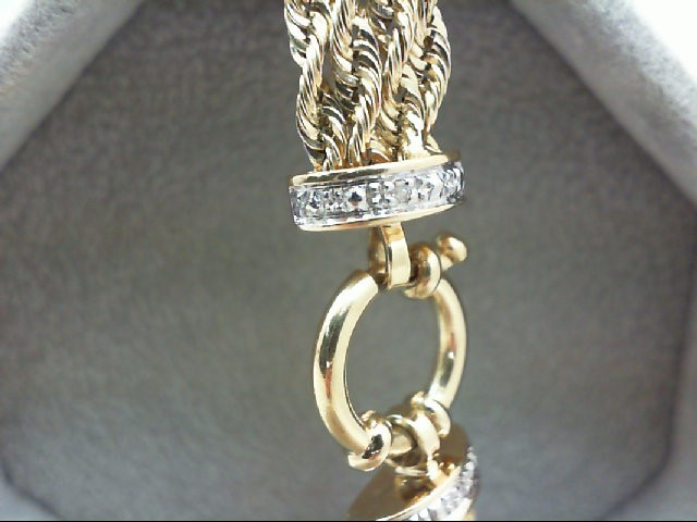 Gold-Diamond Bracelet 2 Diamonds .02 Carat T.W. 14K Yellow Gold 6.6g