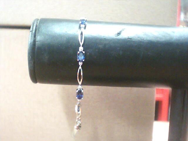 sapphire Gold-Stone Bracelet 10K White Gold 2.8dwt