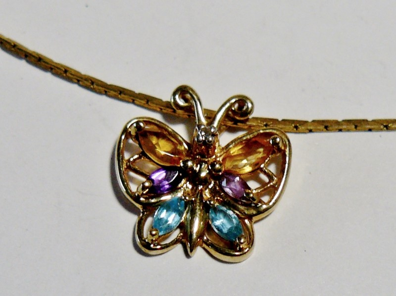 Mulit-Colored Butterfly Gemstone Pendant 10K Yellow Gold 0.08dwt