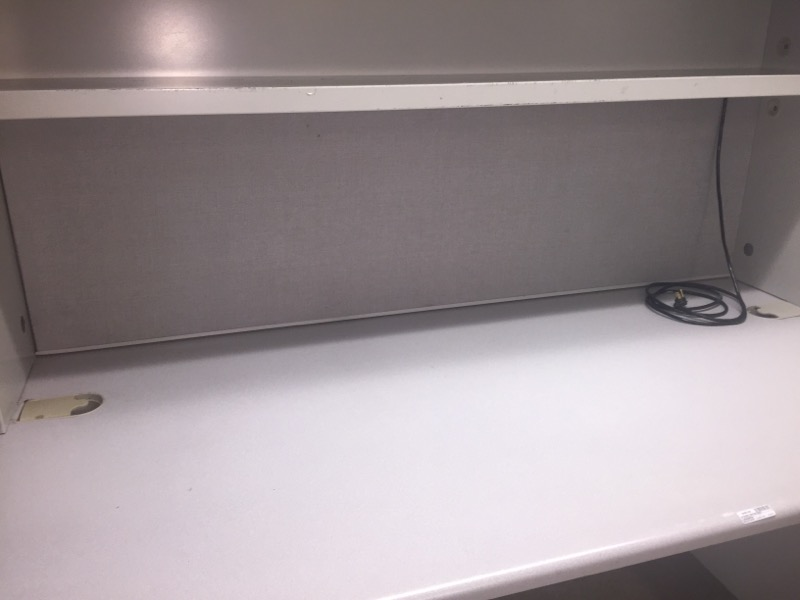 STEEL OFFICE DESK WITH LIGHT AND BUILT IN FILING DRAWER