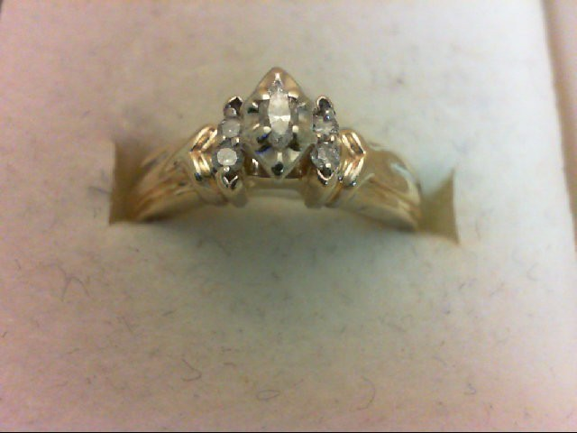 Lady's Diamond Wedding Band 5 Diamonds 0.18 Carat T.W. 14K Yellow Gold 3.3g Size