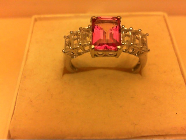 Synthetic Pink Stone Lady's Silver & Stone Ring 925 Silver 2.7g