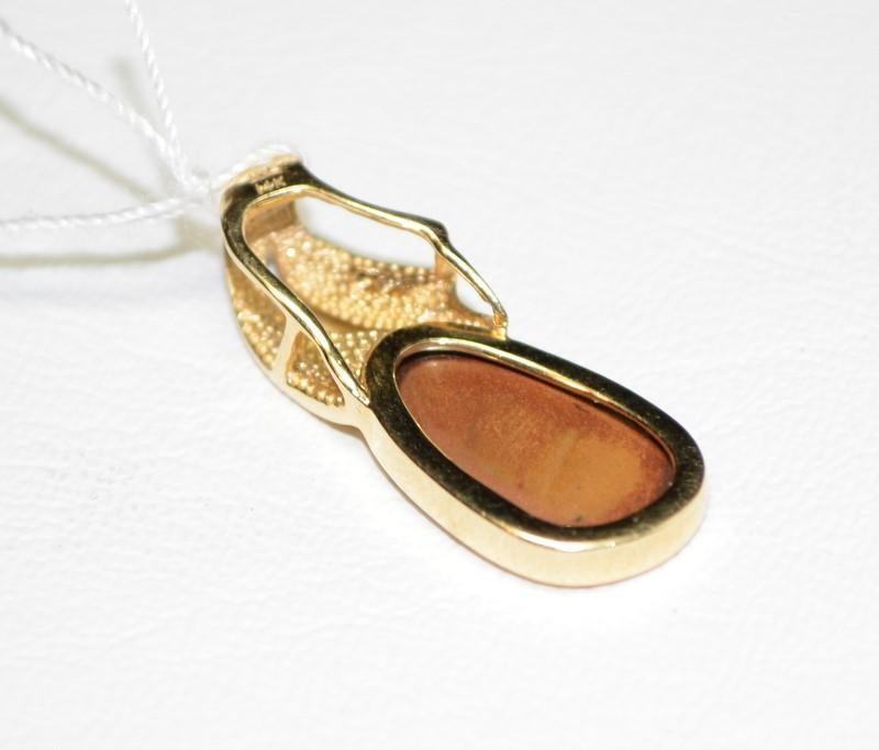 Opal Gold-Diamond & Stone Pendant 3 Diamonds .06 Carat T.W. 14K Yellow Gold