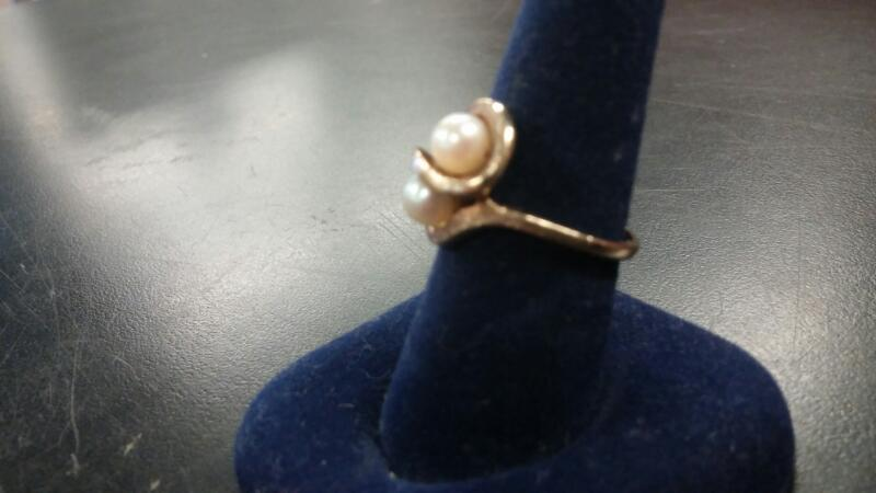 10K Y/G TWIN PEARL RING
