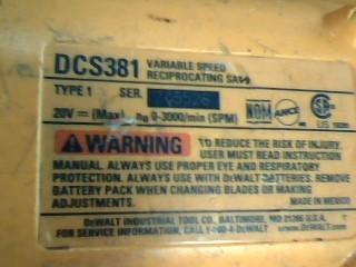 DEWALT Reciprocating Saw DCS381