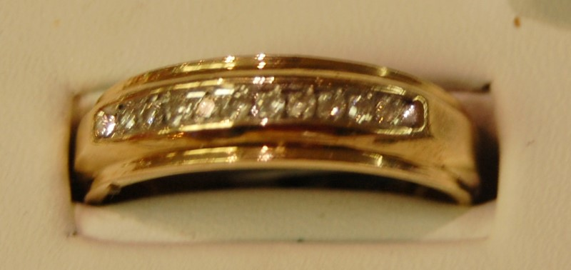 Gent's Gold-Diamond Wedding Band 20 Diamonds .40 Carat T.W. 10K Yellow Gold