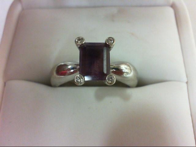 Amethyst Lady's Stone & Diamond Ring 4 Diamonds 0.08 Carat T.W. 14K White Gold 6