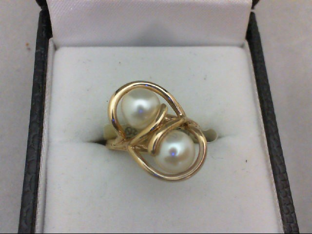 Pearl Lady's Stone Ring 14K Yellow Gold 3.6g