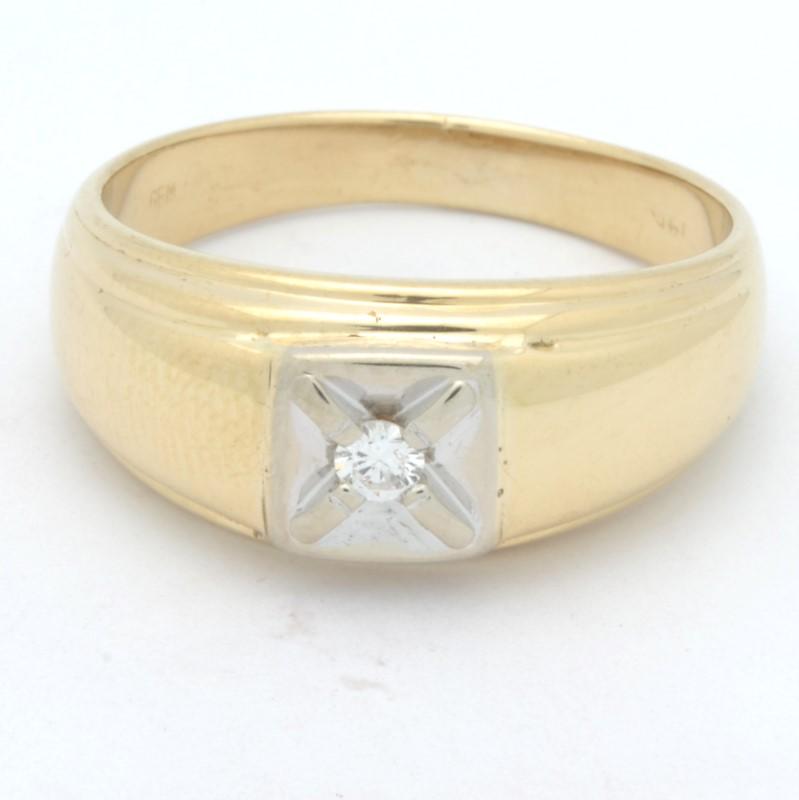 ESTATE MENS DIAMOND RING BAND SOLID 14K GOLD WEDDING FINE SIZE 9.75