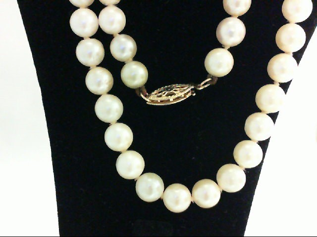 "18"" Pearl Strand Stone Necklace 14K Yellow Gold 23.5g"