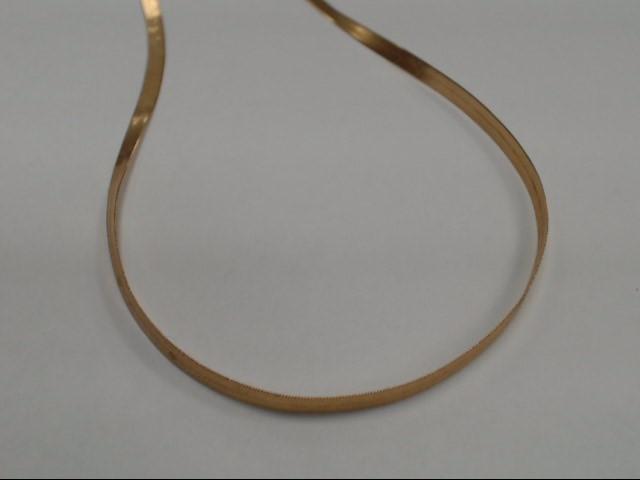"18"" HERRINGBONE YELLOW GOLD NECKLACE, 6.31 TOTAL GRAMS."