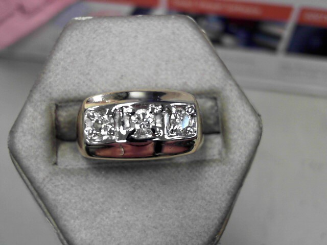 Gent's Diamond Fashion Ring 3 Diamonds .33 Carat T.W. 14K Yellow Gold 9.1g