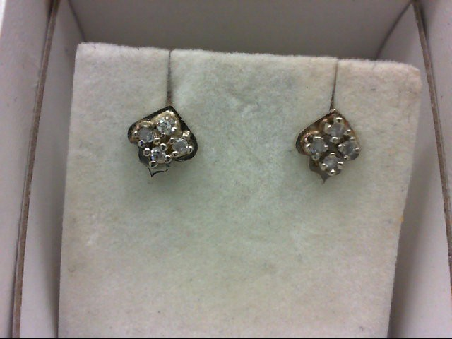Gold-Diamond Earrings 8 Diamonds 0.16 Carat T.W. 14K White Gold 1.1g