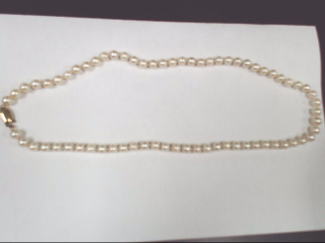 "17"" Pearl Stone Necklace 14K Yellow Gold 19g"