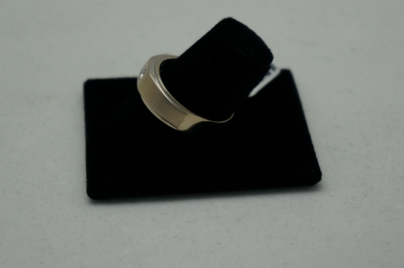 Gent's Diamond Fashion Ring 3 Diamonds .54 Carat T.W. 14K White Gold 5.9dwt