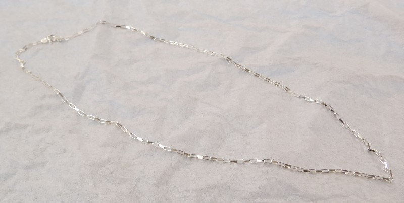 "18"" Long Box Link Silver Chain 925 Silver 2.4dwt"