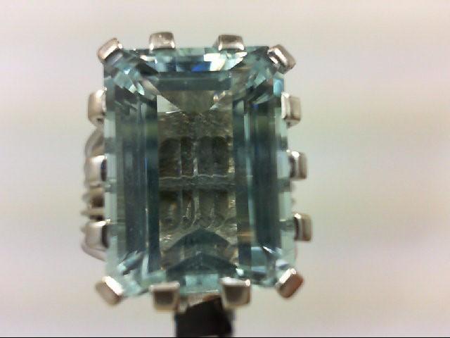 Aquamarine Lady's Stone Ring 14K White Gold 9.31g Size:6.5