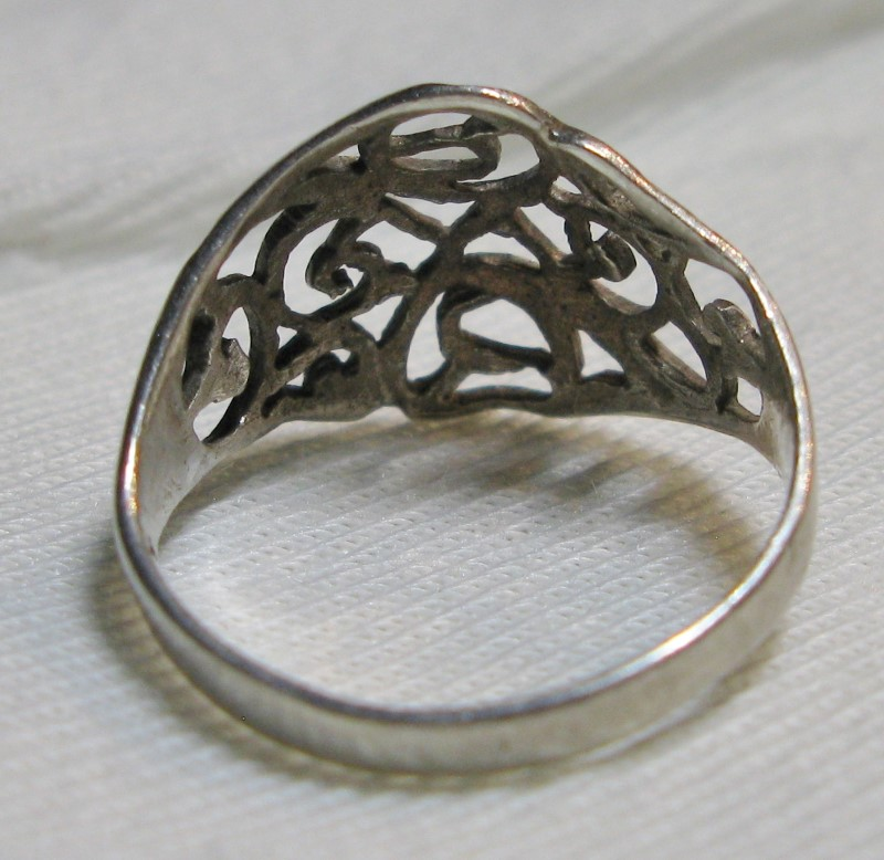 HAND MADE & CUT FILIGREE Sterling Silver Ring .925 1.1dwt Size:7
