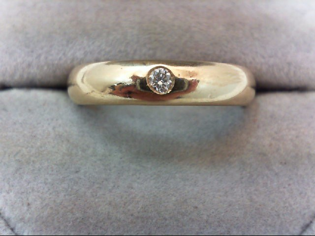 Gent's Gold-Diamond Wedding Band .08 CT. 14K Yellow Gold 5.7g