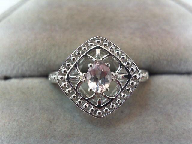 Morganite Lady's Stone & Diamond Ring 4 Diamonds .04 Carat T.W. 14K White Gold