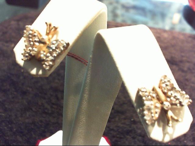 Gold-Diamond Earrings 16 Diamonds .36 Carat T.W. 10K Yellow Gold 2.7g