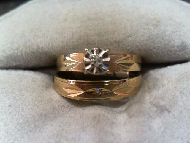 Lady's Diamond Wedding Set 2 Diamonds .04 Carat T.W. 10K Yellow Gold 2.6g