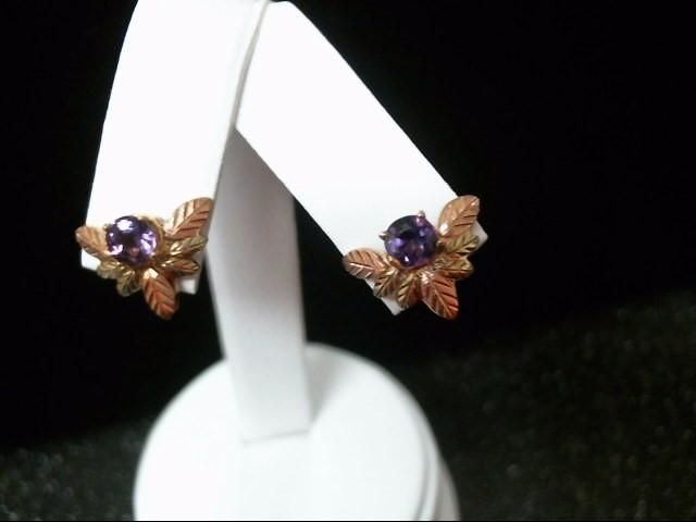 Purple Stone Gold-Stone Earrings 10K 2 Tone Gold 3.3g