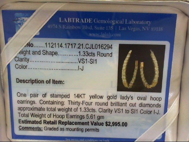 Gold-Diamond Earrings 34 Diamonds 1.33 Carat T.W. 14K Yellow Gold 5.3g