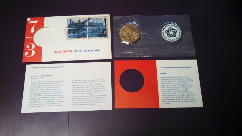 1973 AMERICAN REVOLUTION BICENTENNIAL COIN, HENRY AND ADAMS *FIRST DAY COVER*