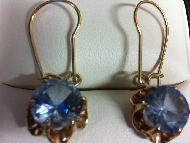 Synthetic Blue Stone Gold-Stone Earrings 14K Yellow Gold 2.7g