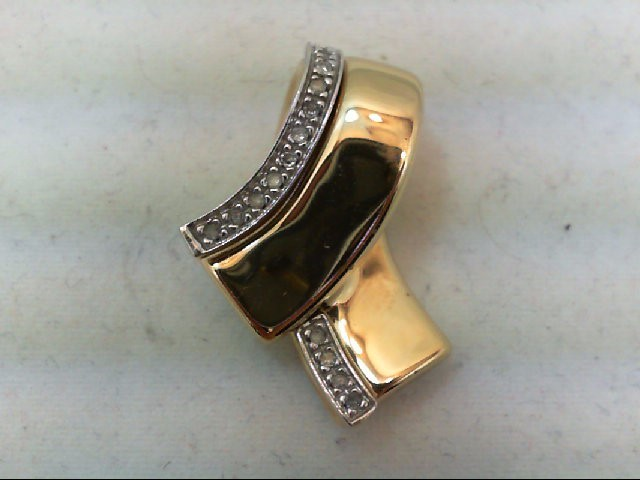Gold-Multi-Diamond Pendant 16 Diamonds 0.16 Carat T.W. 14K Yellow Gold 3.2g