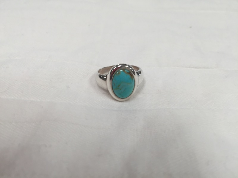 Turquoise Lady's Silver & Stone Ring 925 Silver 5.6g