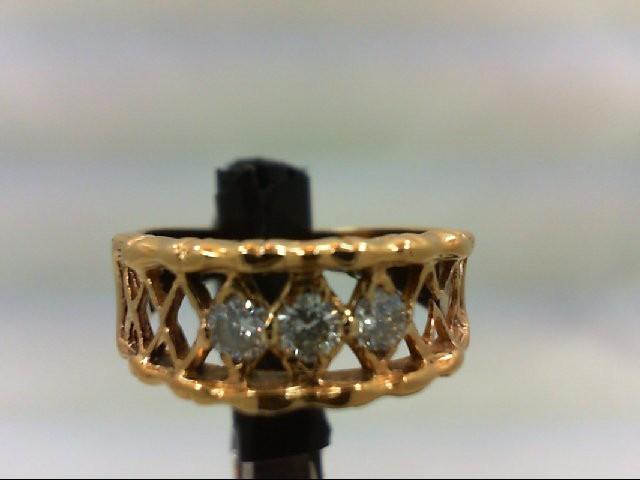 Lady's Diamond Wedding Band 3 Diamonds 0.18 Carat T.W. 10K Yellow Gold 2.6g Size