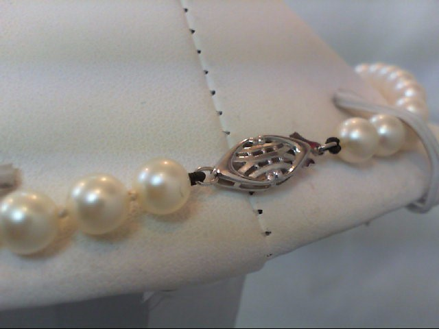 """18"""" Pearl Stone Necklace 14K White Gold 20.5g"""