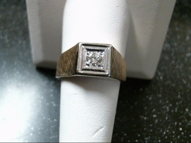 Gent's Diamond Solitaire Ring .30 CT. 10K 2 Tone Gold 8.3g Size:10