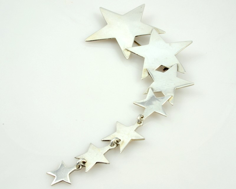 SHOOTING STAR BROOCH PIN SOLID STERLING SILVER 925 LARGE PATRIOT