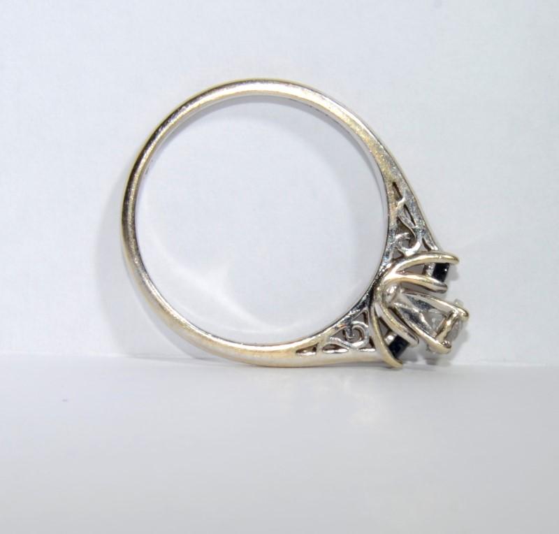 Sapphire Lady's Stone & Diamond Ring .15 CT. 14K White Gold 2.9g