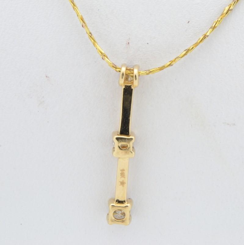 ESTATE 3 DIAMOND PENDANT CHARM SOLID 14K GOLD PAST PRESENT FUTURE