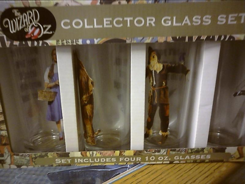 WIZARD OF OZ GLASS SET. SET OF 4 10 OZ GLASSES